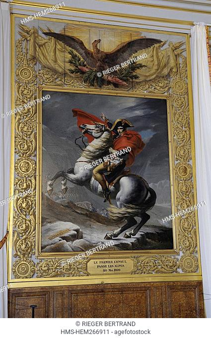 France, Yvelines, Chateau de Versailles, listed as World Heritage by UNESCO, painting of Bonaparte Crossing the Alps by Jacques Louis David in the Musee parlant...