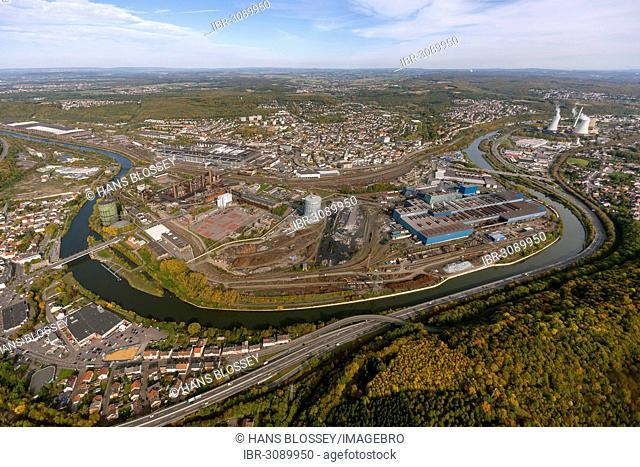 Aerial view, Voelklinger Huette, former steel mill, UNESCO World Cultural Heritage Site, Saar River loop