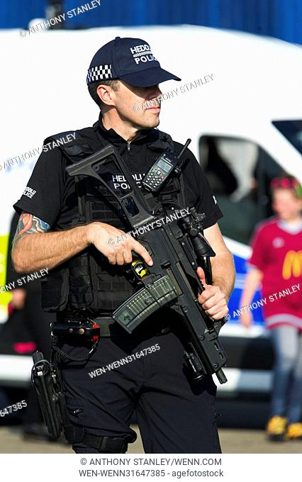 Police presence ahead of the UEFA Womens Champions League Final at the Cardiff City Stadium where Olympique Lyonnais take on Paris Saint Germain Featuring:...