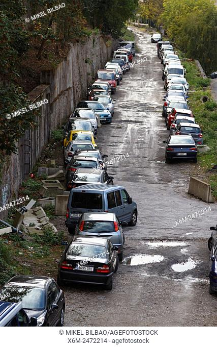 Line of cars. Bilbao, Biscay, Spain, Europe
