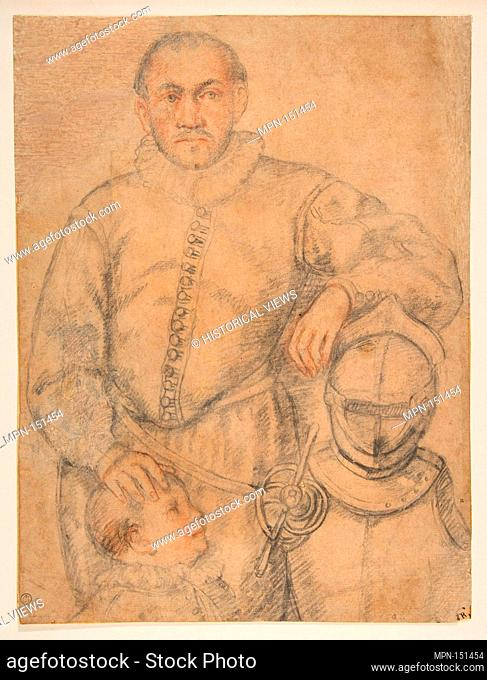 Half-Length Study of a Man Standing in Frontal View, Leaning on Armor and Accompanied by a Boy. Artist: Worshop of Federico Zuccaro (Zuccari) (Italian