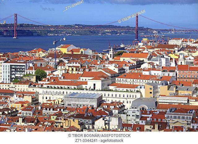 Portugal, Lisbon, Baixa, Tagus River, 25 de Abril Bridge,