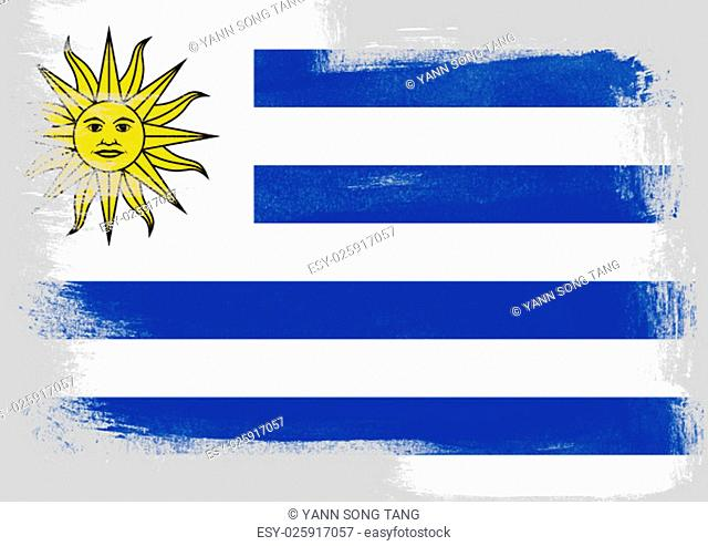 Flag of Uruguay painted with brush on solid background