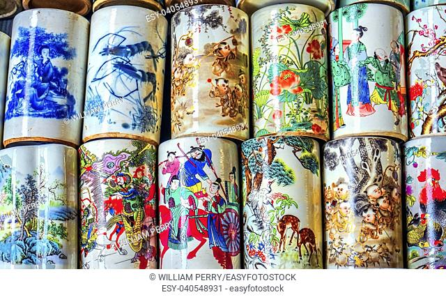 Old Chinese Design Multicolored Cups Panjuan Flea Market Beijing China. Panjuan Flea Curio market has many fakes, replicas and copies of older Chinese products