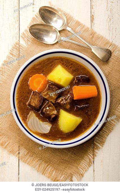 home made beef stew with carrot, potato and onion