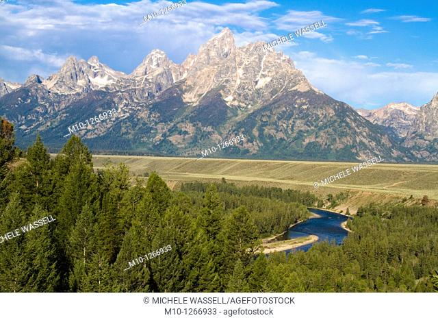 Popular overlook of Grand Tetons and Snake River