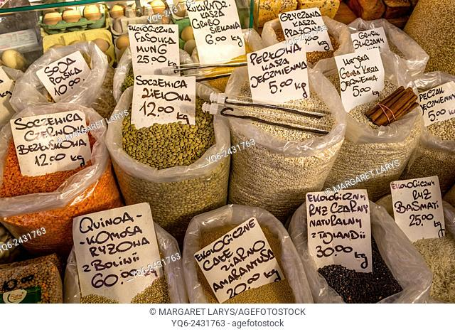 Selection of organic and healthy grains and lentils at the food market in Cracow, Poland