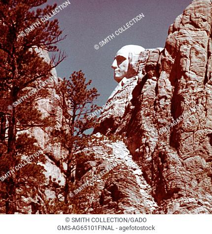 A profile view of George Washington's carving on Mount Rushmore, in the Black Hills in Keystone, South Dakota, 1975. (Photo by Smith Collection/Gado/Getty...