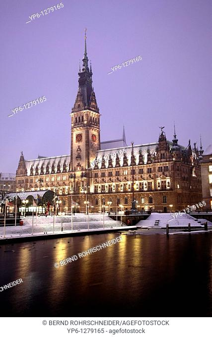 townhall and inner Alster at night in winter, Hamburg, Germany