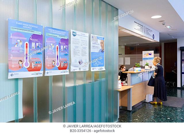 Reception of patients, Primary care, Egia Health Center, Donostia, San Sebastian, Gipuzkoa, Basque Country, Spain