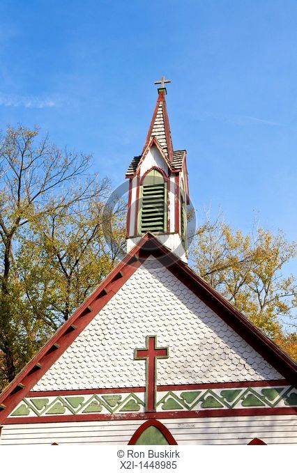 Steeple of old St  Joseph's Catholic Church in Billie Creek Village at Rockville in Parke County, Indiana, USA