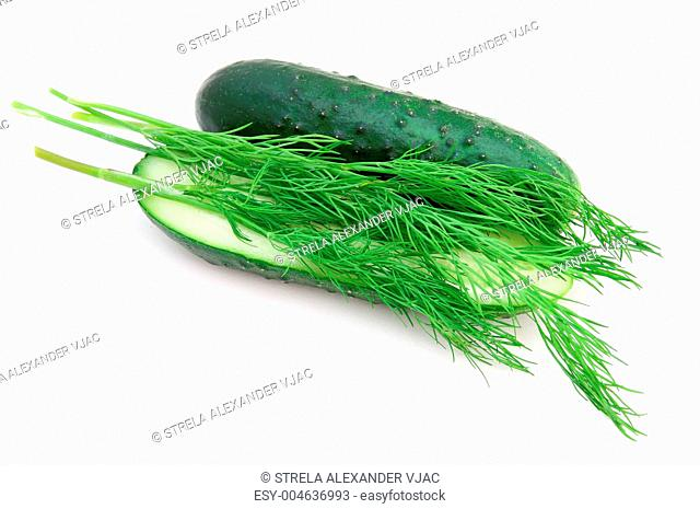 a cucumber with the cut half lying on a dill
