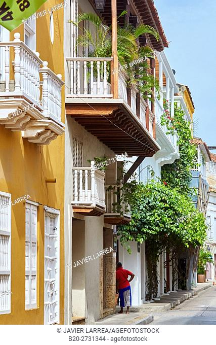 Colonial architecture, Cartagena de Indias, Bolivar, Colombia, South America