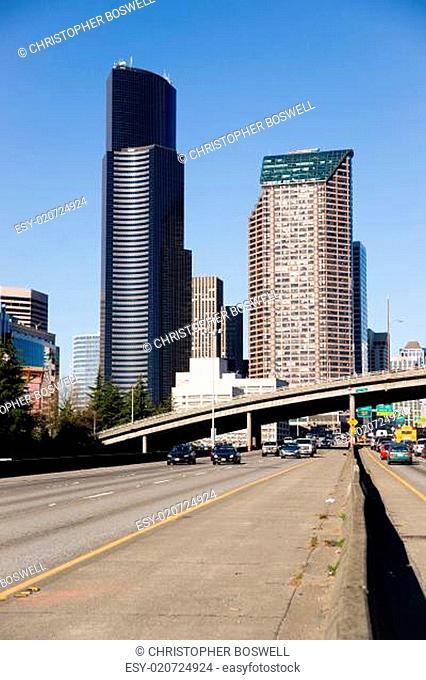 Interstate 5 Highway Cuts Through Downtown Seattle Skyline Modern Transportation