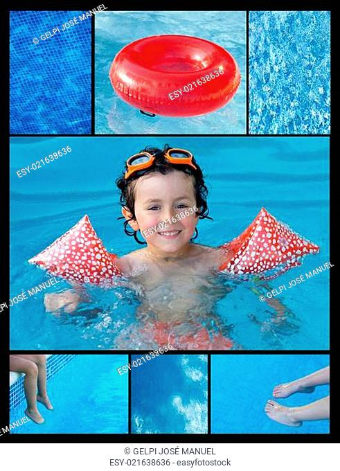 Collage of a child in the pool