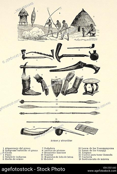 Weapons and utensils of African tribes, travel and exploration by Henry Morton Stanley, expedition how I found Livingstone in Central Africa 1871-1872