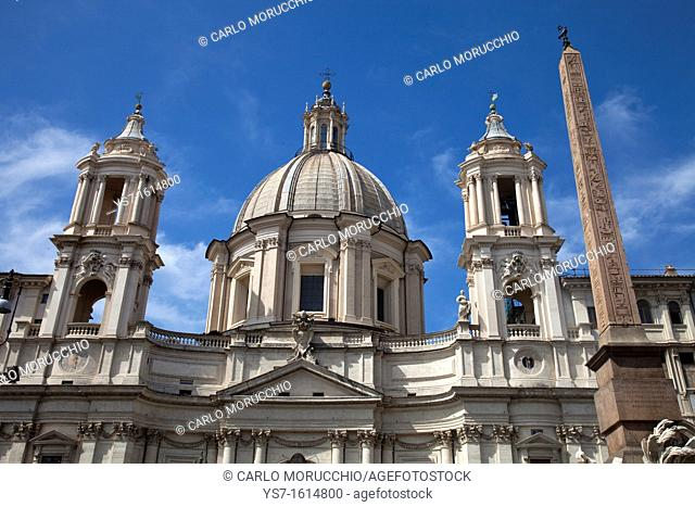 Saint Agnese in Agone church and the Fountain of the four Rivers, Piazza Navona, Rome, Lazio, Italy, Europe