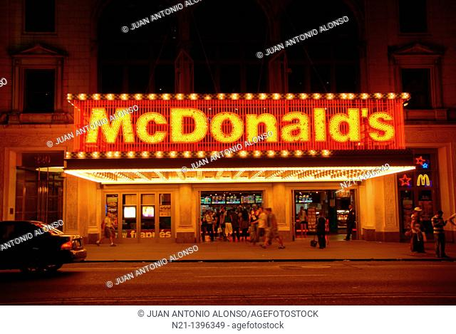 The largest metropolitan Mc Donalds in America. Candler building. 42nd street at Broadway. Times Square. Theater District. Manhattan