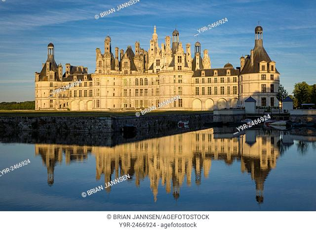 Sunset over the massive, 440 room, Chateau de Chambord, Loire-et-Cher, France