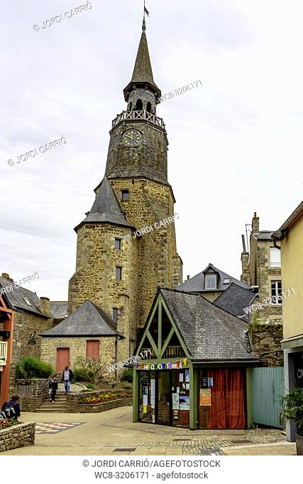DINAN, BRITAN, FRANCE - JUNE -2015: View of the fifteenth century clock tower that represents a symbol for the city of Dinan