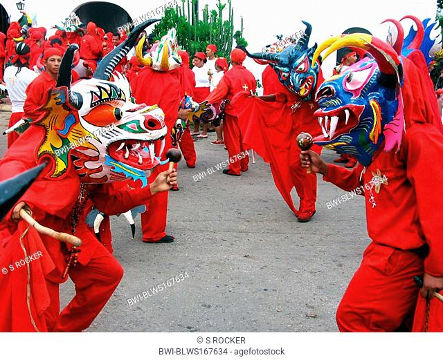 dancing devils during Corpus Christi, Venezuela, San Francisco de Yare