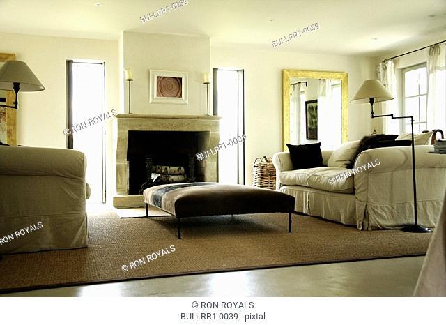 Low angle living room with comfy sofa