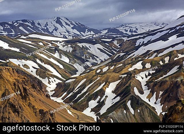 Rhyolite mountains at the Landmannalaugar valley in the Fjallabak Nature Reserve, natural park near Hekla / Hecla in summer, Sudurland, Iceland