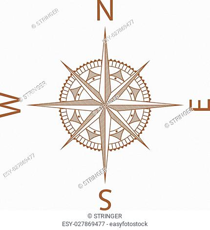 An Illustration of a Map Compass on White Background