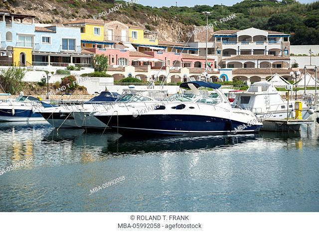 Italy, Sardinia, cruiser in the Porto Turistico in Santa Teresa di Gallura