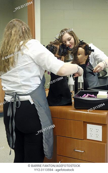Student in Cosmetoloy Program, Practicing on Mannequin, Board of Cooperative Education Services (BOCES), Belmont, New York, USA