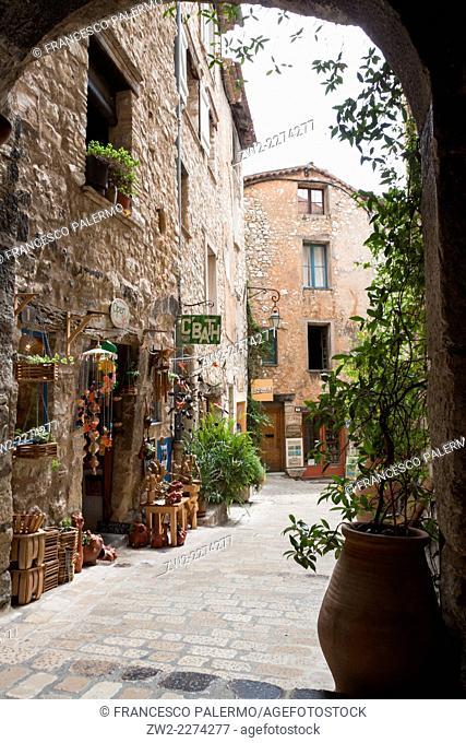 Entrance to the old ancient village in a summer time. Tourrettes-sur-Loup, Provence-Alpes-Côte d'Azur. France