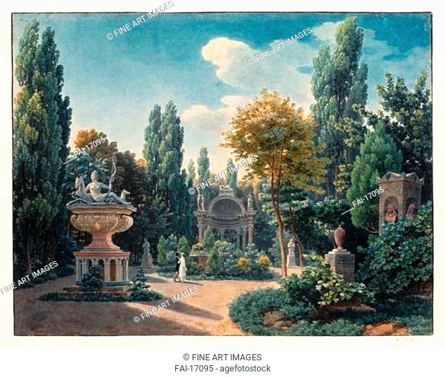 Monument of Diane de Poitiers in the Jardin du cloître des Petits-Augustins. Vauzelle, Jean-Lubin (1776-1837). Watercolour and ink on paper