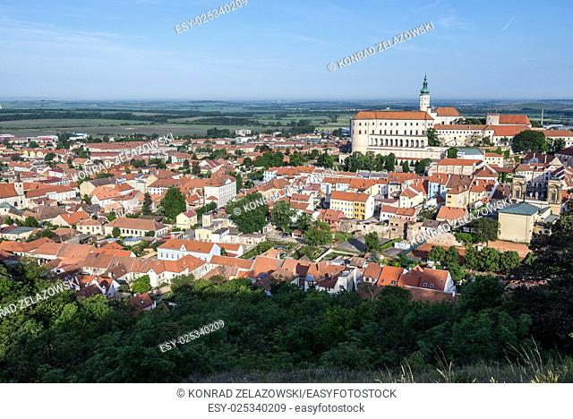 Aerial view from Holy Hill on Mikulov town in Czech Republic with Mikulov Castle