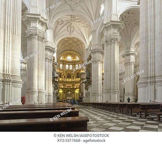 The nave of the cathedral. Full name, Santa Iglesia Catedral Metropolitana de la Encarnacion, or Metropolitan Cathedral of the Incarnation, Granada