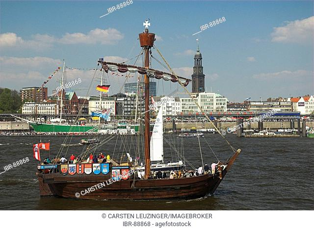 Ancient sailing ship in Hamburg during the 817th anniversary of Hamburg Harbour, Hamburg, Germany