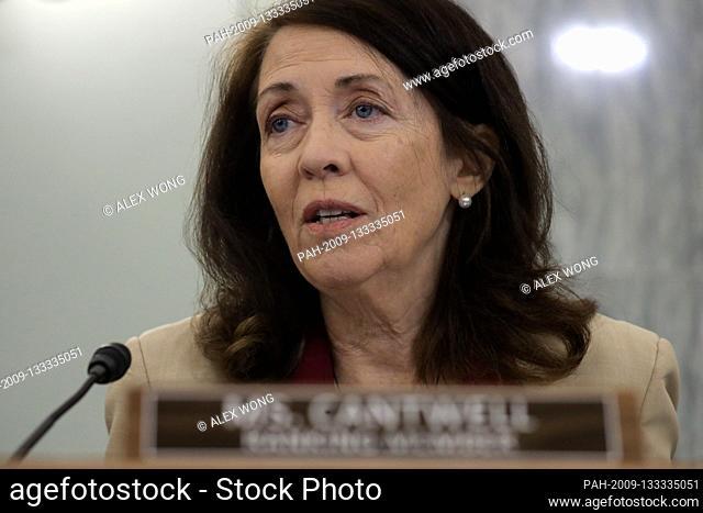 United States Senator Maria Cantwell (Democrat of Oregon), Ranking Member, US Senate Committee on Commerce, Science, & Transportation speaks during a United...