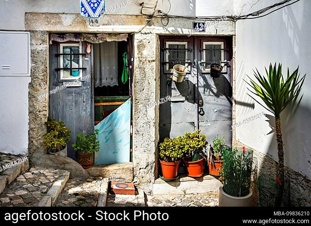 Europe, Portugal, capital, old town of Lisbon, Alfama, simple house entrances, potted plants, Pabstportrait