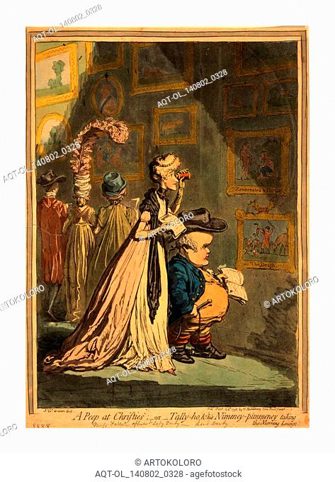 A peep at Christies or Tally ho, and his nimeney-pimmeney taking the morning lounge, Gillray, James, 1756-1815, engraving 1796