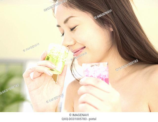 Woman enjoying fragrance