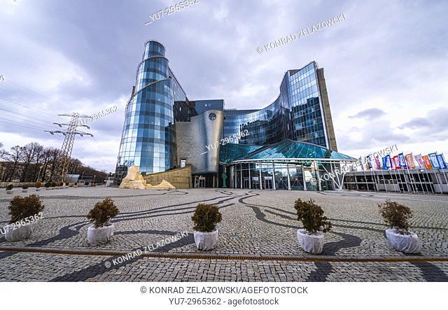 Main headquarters of Polish Television (Telewizja Polska - TVP) public broadcasting corporation on Woronicza Street in Warsaw, Poland