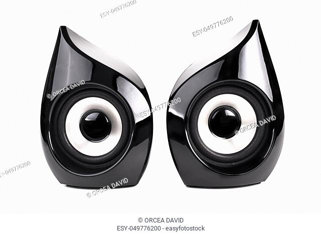 Pair of Black speakers  isolated on white background
