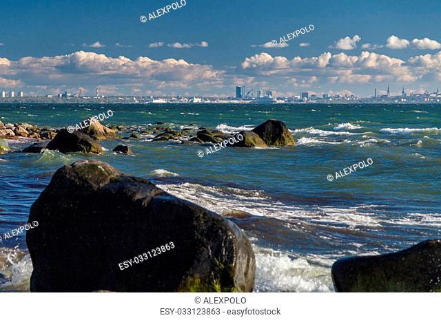 Baltic sea with Tallinn cityscape on background, Estonia