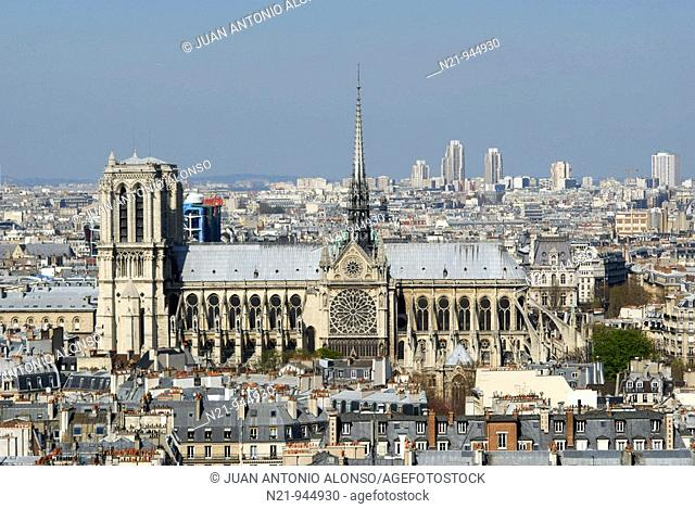 General View of Paris with the Cathedral of Notre Dame. Paris, France, Europe