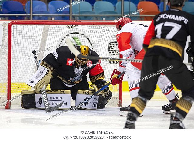 Hockey players MATIJA PINTARIC, goalie of Rouen and TOMAS VINCOUR (centre) of Mountfield Hradec in action during the Ice hockey Champions League matches group F...