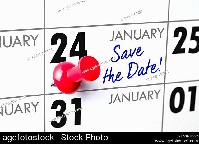 Wall calendar with a red pin - January 24