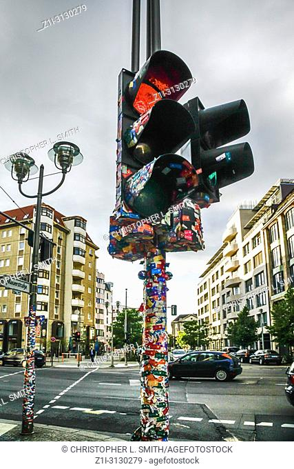 Set of traffic lights covered in public transport tickets has now become a piece of folk art in Berlin, Germany