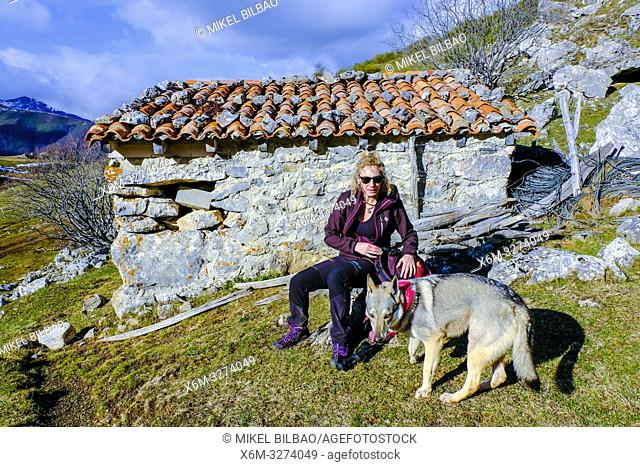 Woman and wolf dog in a refuge. Bistruey peak route. Cucayo area. Vega de Liebana, Cantabria, Spain, Europe