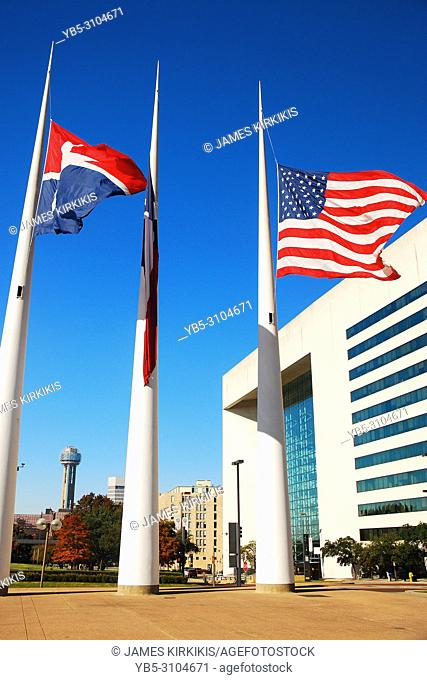 Flags fly at half staff in front of the Dallas, Texas City Hall