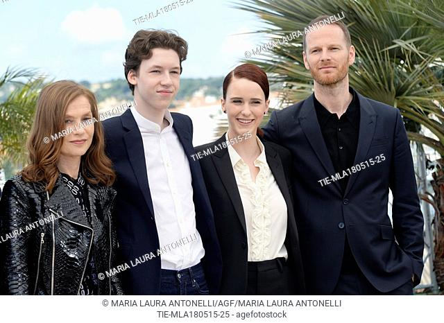The actress Isabelle Huppert, the actor Devin Druid, the actress Rachel Brosnahan and the director Joachim Trier during the photocall of film ' Louder than...