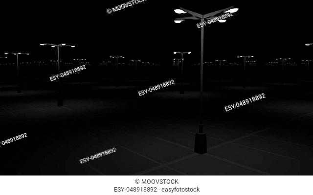 Big empty parking area at night. Emptiness concept. 3D